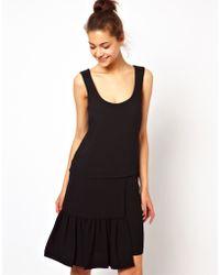 Love Moschino Drop Waist Shift Dress in Wool Mix - Lyst
