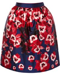 Prabal Gurung Pansy Printed Silk Gathered Skirt - Lyst