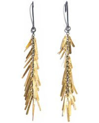 Sia Taylor - Fringe Yellow Gold Oxidised Silver Earrings - Lyst