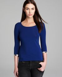 Burberry Brit Elbow Sleeve Tee with Check Cuffs - Lyst