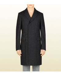 Gucci Houndstooth Wool Coat - Lyst