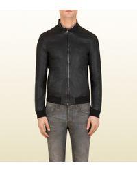 Gucci Black Nappa Leather Jacket - Lyst
