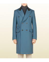 Gucci Blue Grey Wool Equestrian Coat - Lyst