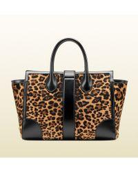 Gucci - Lady Buckle Jaguar Print Top Handle Bag - Lyst