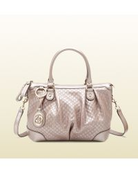 Gucci - Sukey Light Pink Metallic Microguccissima Top Handle Bag - Lyst