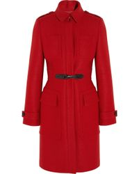 Burberry Buckledetailed Wool Coat - Lyst