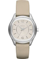 DKNY Neutrals Stainless Steel and Leather Watch White - Lyst