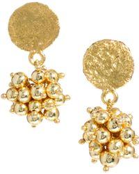 Kasturjewels - 22kt Gold Plated Ball Drop Earrings - Lyst
