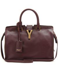 Saint Laurent - Petite Cabas Classique Y Leather Bag with Strap - Lyst