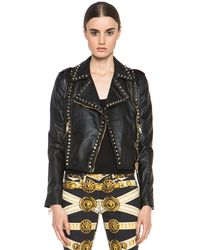 Versus  Leather Jacket in Black - Lyst