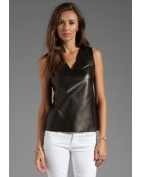 Vince Silk Back V Neck Leather Shell - Lyst