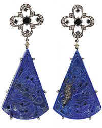 Bochic | Carved Lapis and Diamond Earrings | Lyst