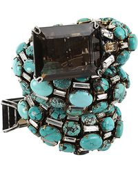 Iradj Moini Turquoise Coil Snake Cuff with Quartz - Lyst