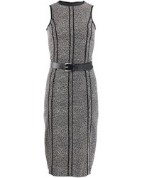 Michael Kors Sleeveless Seamed Tweed Dress with Belt - Lyst