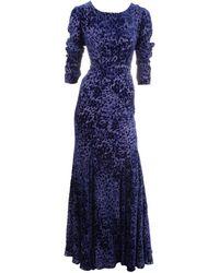 Oscar de la Renta Burnout Velvet Gown - Lyst