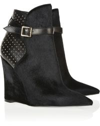 Burberry Prorsum - Woodley Studded Leather and Calf Hair Wedge Ankle Boots - Lyst