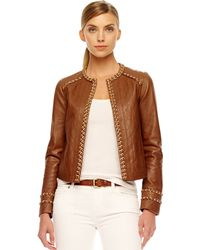 Michael Kors Michael Chaintrim Leather Jacket - Lyst