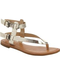 Vera Wang - Alena Metallic Leather Sandals - Lyst