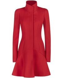 Alexander McQueen High Neck Fitted Coat red - Lyst