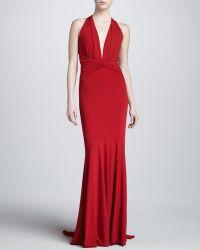 Michael Kors Halter Ruched Gown Crimson - Lyst