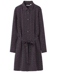 Uniqlo Silk Print Long Sleeve Shirt Dress - Lyst