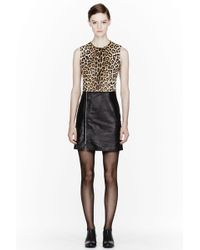 3.1 Phillip Lim Brown and Black Leopard Print Leather Biker Dress - Lyst