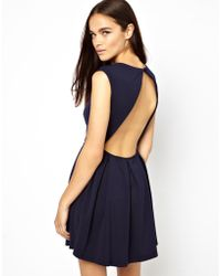 Glamorous Structured Skater Dress with Open Back - Lyst