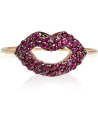 Kismet by Milka - Rose Gold Ruby Lips Ring - Lyst