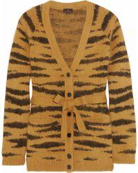 Mulberry - Tigerprint Angorablend Belted Cardigan - Lyst