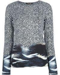 Roberto Cavalli Multi Print Sheer Blouse - Lyst