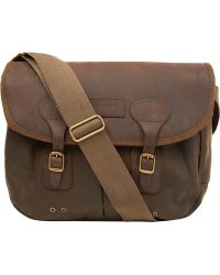 Barbour Medium Olive Tarras Leather and Wax Cotton Bag - Lyst