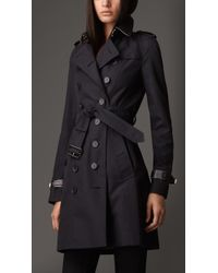 Burberry Long Leather Detail Gabardine Trench Coat - Lyst