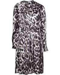 Lanvin Leopard Print Flared Dress - Lyst
