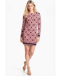 MICHAEL Michael Kors Argyle Print Shift Dress - Lyst