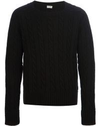 Saint Laurent Cable Knit Sweater - Lyst