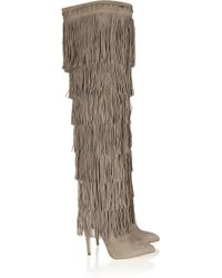 Brian Atwood - Viva Tiered Fringed Suede Boots - Lyst
