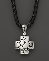 John Hardy - Men's Kali Silver Cross Pendant On Black Leather Cord - Lyst