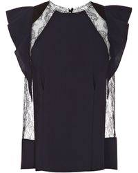Nina Ricci Silk Top with Lace and Cap Sleeves - Lyst
