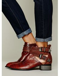 Jeffrey Campbell Overland Croc Ankle Boot - Lyst