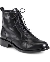 Saint Laurent Patti Leather Lace-Up Ankle Boots - Lyst