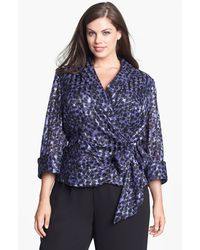 Alex Evenings Print Wrap Blouse - Lyst