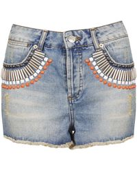 Topshop Moto Embellished Denim Hotpants - Lyst