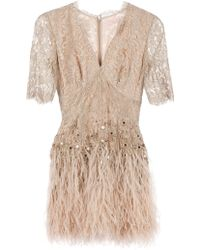 Matthew Williamson Floral Lace Feathered Dress - Lyst