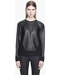 Helmut Lang Ink Leather Sweatshirt - Lyst