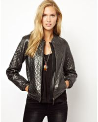 Pepe Jeans London Quilted Leather Jacket - Lyst