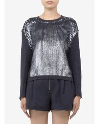 3.1 Phillip Lim Sequined panel Wool blend Sweater - Lyst