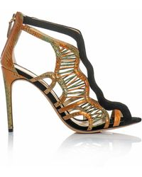 Alexandre Birman Watersnake and Suede Sandals - Lyst