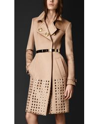 Burberry Embellished Cashmere Trench Coat - Lyst
