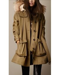 Burberry Military Canvas Fur Trim Parka - Lyst