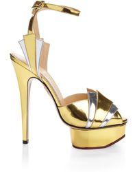 Charlotte Olympia Metallic Decodent Sandal - Lyst